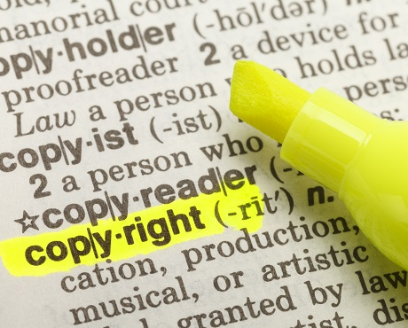 "Word ""copyright"" highlighted representing intellectual property insurance"