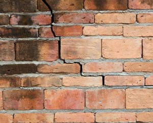 Brick wall showing signs of poor construction