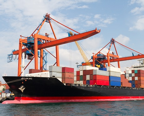 ship being loaded with marine cargo representing marine cargo insurance