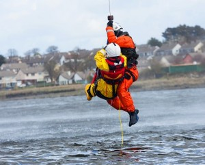 Person being winched to safety