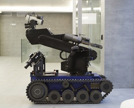 Bomb disposal robot for dealing with terrorism bomb threats representing Terrorism insurance