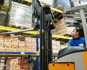 Food wholesaler with fork lift truck