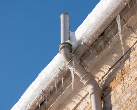 Frozen guttering and downpipe