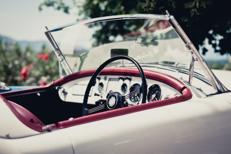 vintage white convertible sunny day